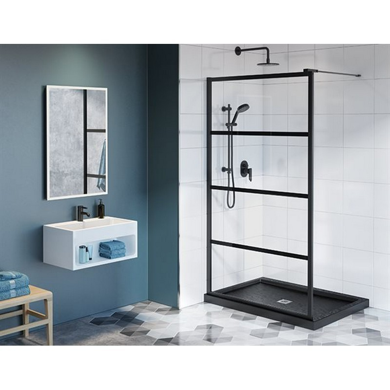 FLEURCO LAV44-33-43-79 LATITUDE 44-45 W X 79 H INCH MATTE BLACK WALK-IN 2-SIDED SHOWER SHIELD WITH 5/16 INCH CLEAR GLASS WITH BLACK SILK SCREEN