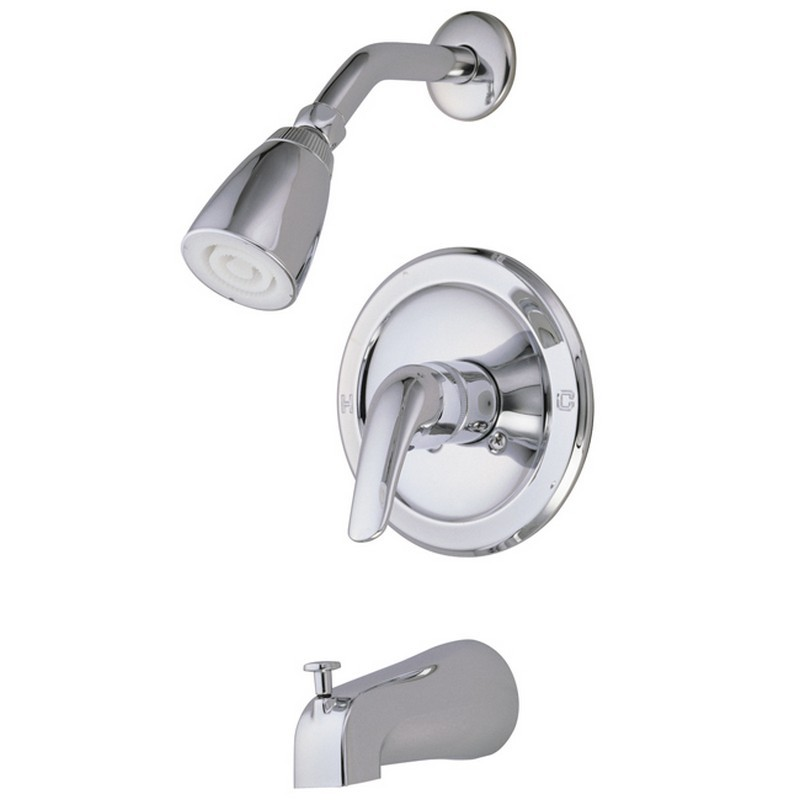 KINGSTON BRASS GKB531L CHATHAM TUB AND SHOWER FAUCET WITH SINGLE LEVER HANDLE IN POLISHED CHROME