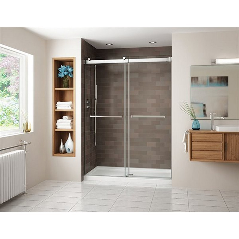 FLEURCO NG148-40 GEMINI  45-48 W X 75 H INCH IN-LINE BYPASS FRAMELESS SLIDING DOOR WITH 1/4 INCH CLEAR GLASS DOOR