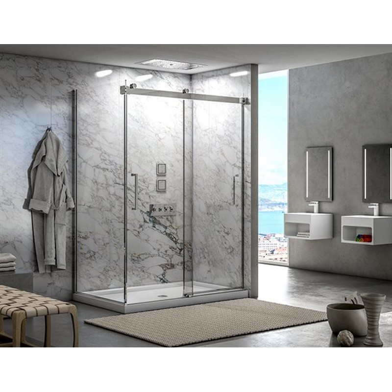 FLEURCO NM272-40-79 MERCURY 69-72 W X 79 H INCH 2-SIDED BYPASS FRAMELESS SLIDING DOOR WITH RETURN PANEL AND 5/16 INCH CLEAR GLASS