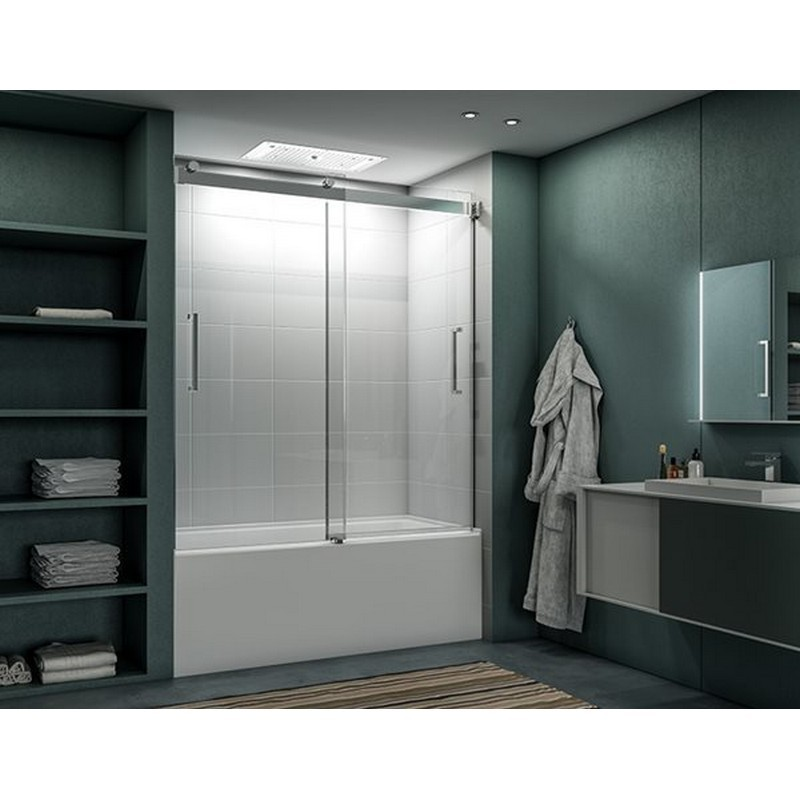 FLEURCO NMT60-40 MERCURY 57-60 W X 66 H INCH BYPASS FRAMELESS SLIDING TUB DOOR WITH 5/16 INCH CLEAR GLASS