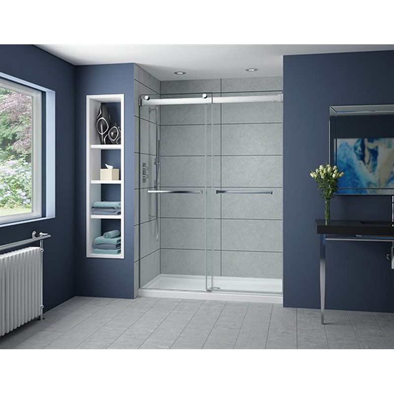 FLEURCO NP160-40 GEMINI PLUS 57-60 W X 79 H INCH IN-LINE BYPASS FRAMELESS SLIDING DOOR WITH 3/8 INCH CLEAR GLASS