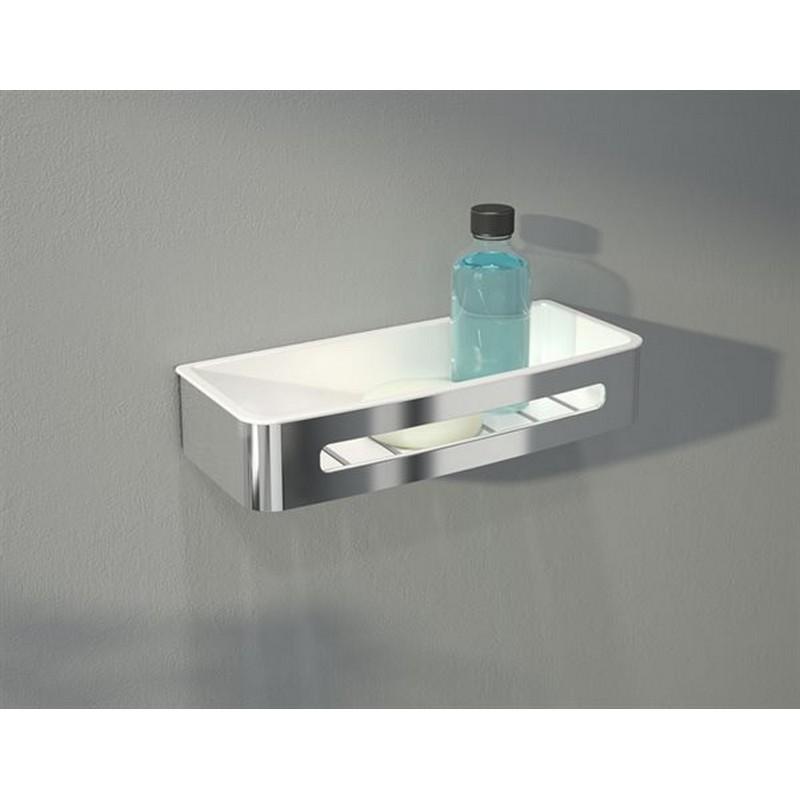 FLEURCO VA1405-18-11 AURORA 13-7/8 INCH SHOWER SHELF IN WHITE/CHROME