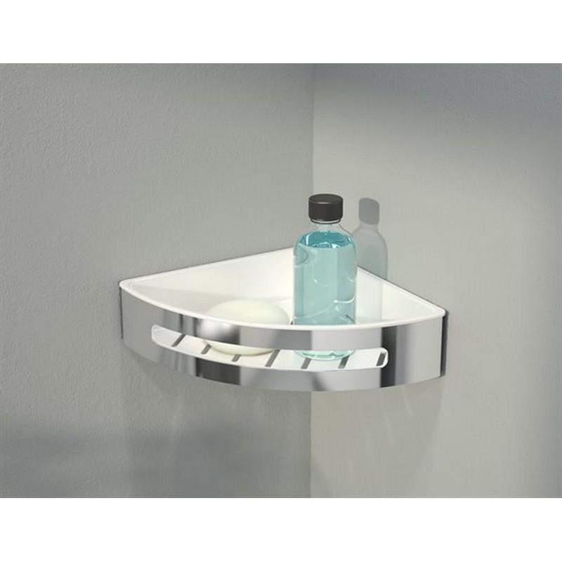 FLEURCO VAC1010-18-11 AURORA 9-3/4 INCH CORNER SHOWER SHELF IN WHITE/CHROME