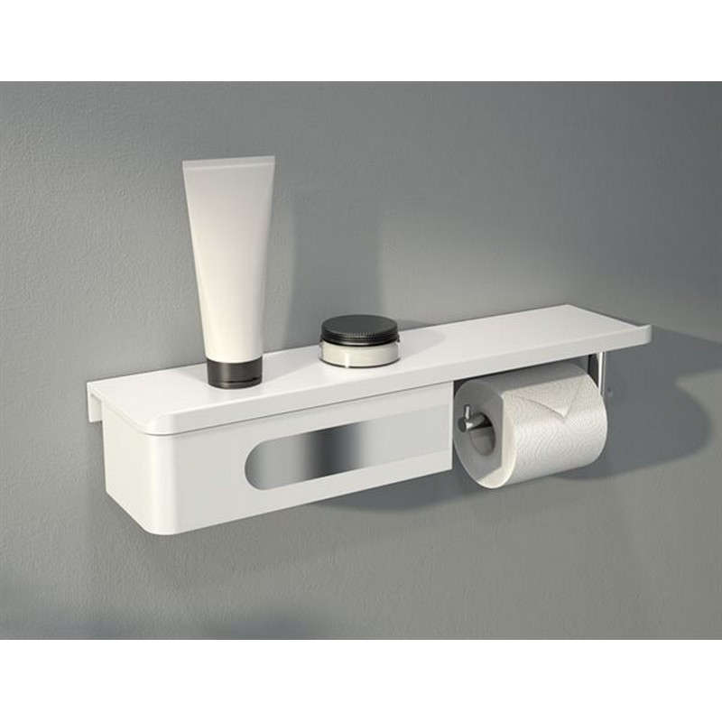 FLEURCO VE1805-18-11 ELOQ 17-3/4 INCH SHELF AND DRAWER WITH TOILET PAPER HOLDER IN WHITE/CHROME