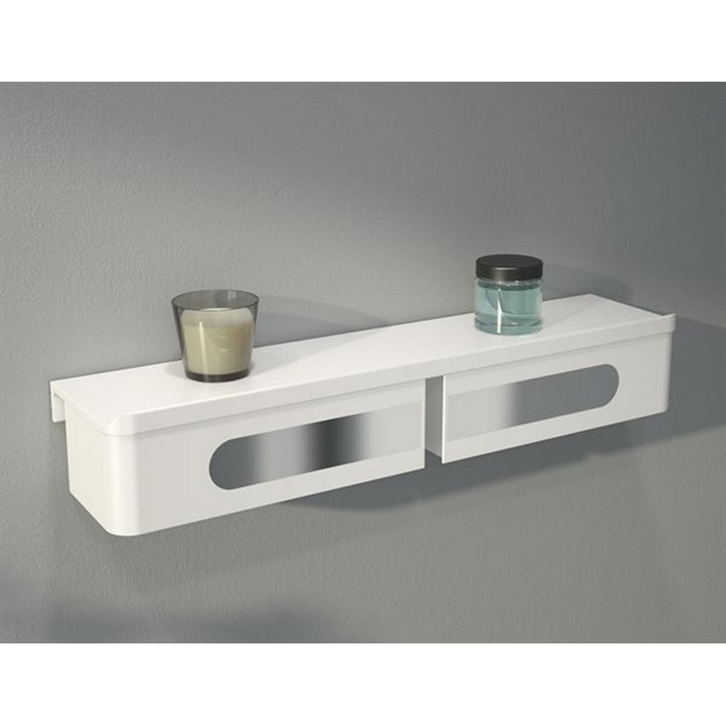 FLEURCO VE2005-18-11 ELOQUENCE 19-5/8 INCH SHELF AND DOUBLE DRAWER IN WHITE/CHROME