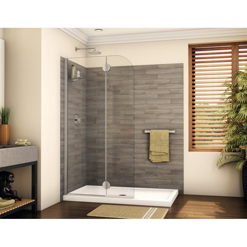 FLEURCO VGSS24-40-79 MONACO 39-40 W X 79 H INCH WALK-IN ROUND TOP SHOWER SHIELD WITH FIXED PANEL, GLASS SHELF AND 3/8 INCH CLEAR GLASS
