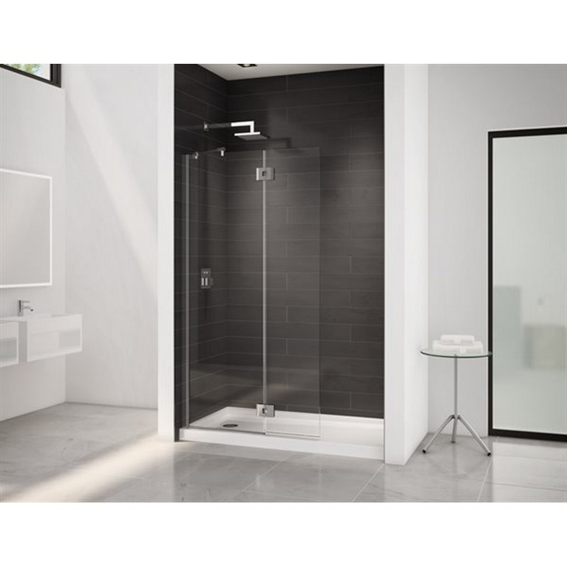FLEURCO VMSXS24-40-79 SELECT MONACO 39-40 W X 80-1/2 H INCH WALK-IN SQUARE TOP SHOWER SHIELD WITH FIXED PANEL, SUPPORT BAR AND 3/8 INCH CLEAR GLASS