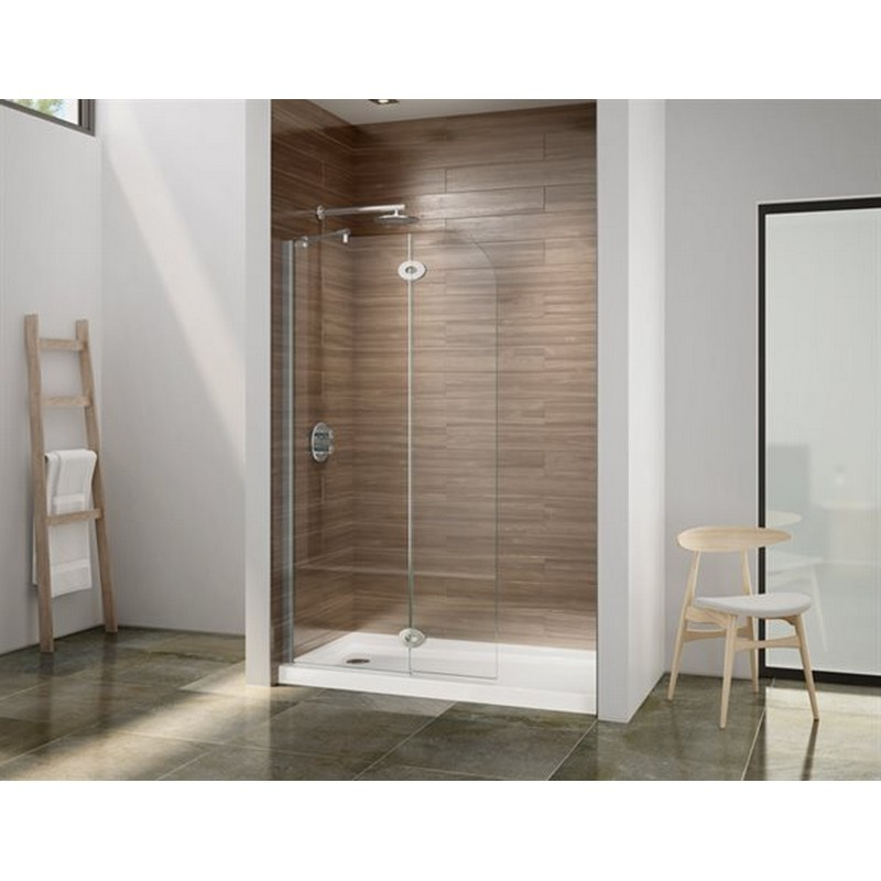 FLEURCO VQRXS24-40-79 SELECT MONACO 39-40 W X 76-1/2 H INCH WALK-IN ROUND TOP SHOWER SHIELD WITH FIXED PANEL, SUPPORT BAR AND 3/8 INCH CLEAR GLASS
