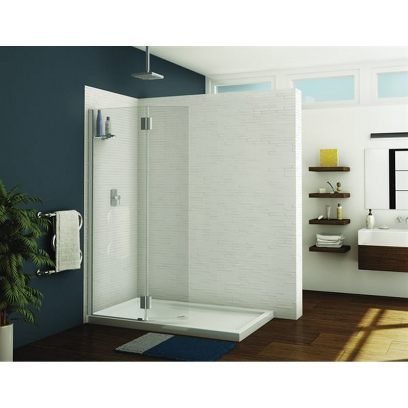 FLEURCO VWGSS24-40-79 MONACO 39-40 W X 79 H INCH WALK-IN SQUARE TOP SHOWER SHIELD WITH FIXED PANEL, GLASS SHELF AND 3/8 INCH CLEAR GLASS