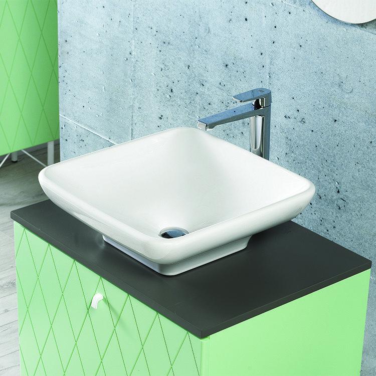 CeraStyle 072800 U No Hole Lal 19 Inch Rectangular White Ceramic Vessel Sink