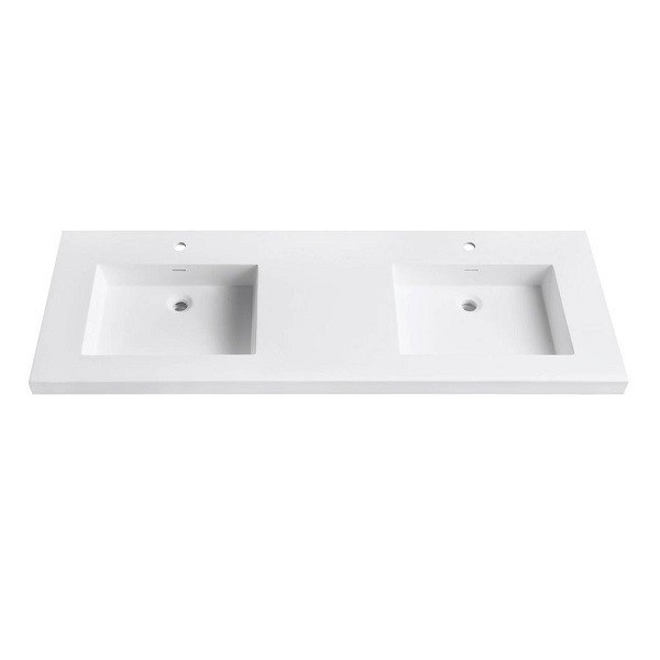 AVANITY VUT61WT VERSASTONE 61 INCH SOLID SURFACE VANITY TOP WITH DOUBLE BOWL