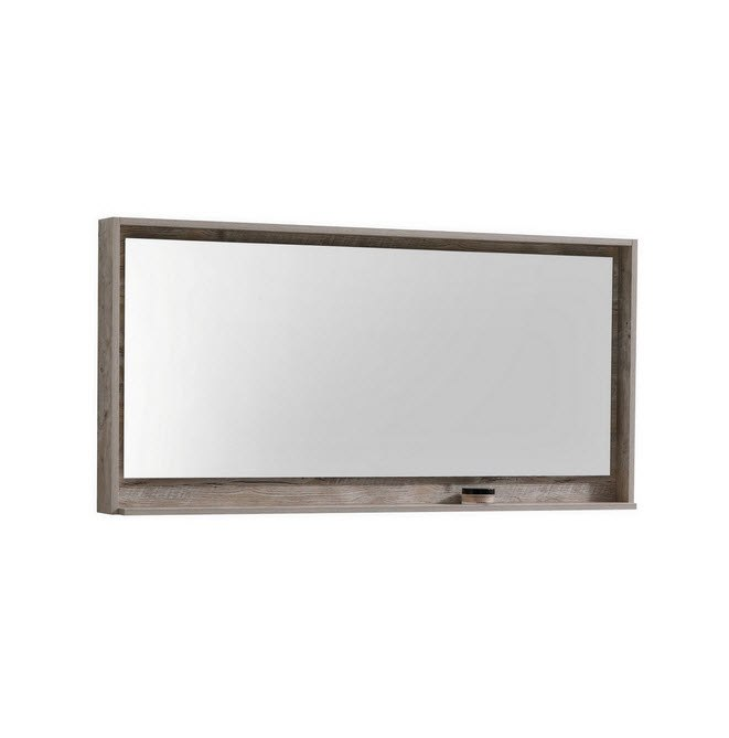 Kubebath KB60NW-M 60 Inch Wide Mirror with Shelve in Nature Wood