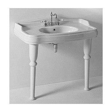 GSI 564613 Three Hole Old Antea 42 Inch Classic White Ceramic Bathroom Sink  With Legs