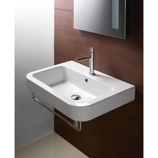 Gsi 693211 Three Hole Traccia 26 Inch Curved Rectangular White Ceramic Wall Mounted Bathroom Sink