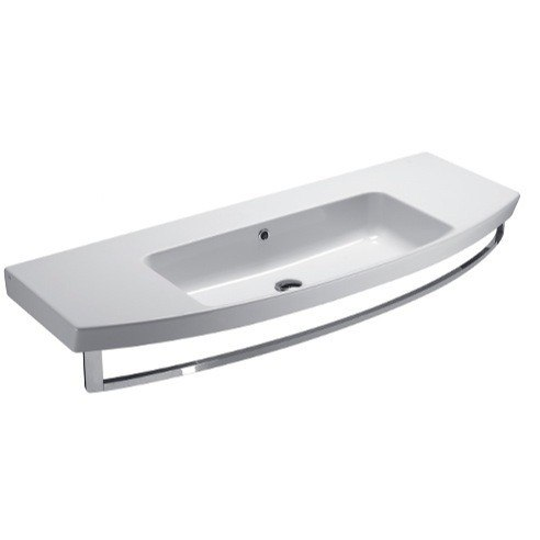 GSI 772411-NO HOLE MODO 47 INCH CURVED WHITE CERAMIC WALL MOUNTED BATHROOM SINK