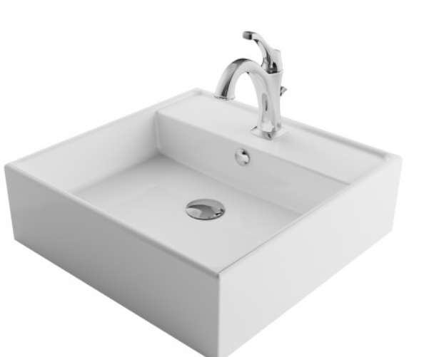 KRAUS C-KCV-150-1201 ELAVO 18-1/2 INCH SQUARE WHITE PORCELAIN CERAMIC BATHROOM VESSEL SINK WITH OVERFLOW AND ARLO FAUCET COMBO SET WITH LIFT ROD DRAIN