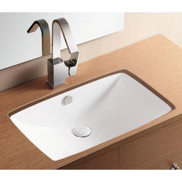 Caracalla CA40236-No Hole Ceramica Ii 23 Inch Rectangular White Ceramic Undermount Bathroom Sink
