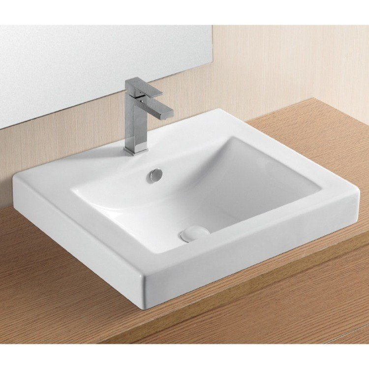 Caracalla CA4024A-One Hole Ceramica Ii 24 Inch Rectangular White Ceramic Self Rimming Bathroom Sink