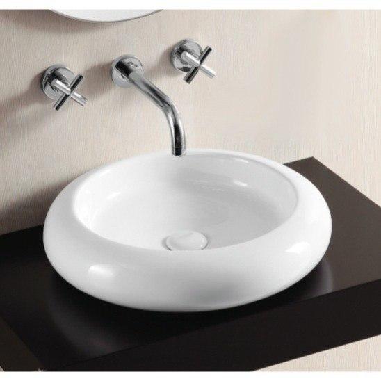 Caracalla CA4027-No Hole Ceramica Ii 18 Inch Round White Ceramic Vessel Bathroom Sink