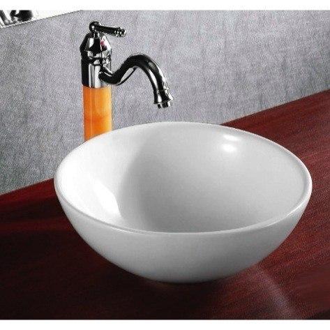 Caracalla CA4030-No Hole Ceramica 15 Inch Round White Ceramic Vessel Bathroom Sink