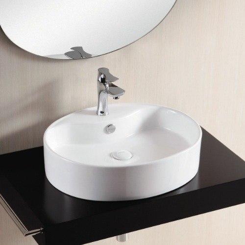 Caracalla CA4031-One Hole Ceramica Ii 22 Inch Oval White Ceramic Vessel Bathroom Sink