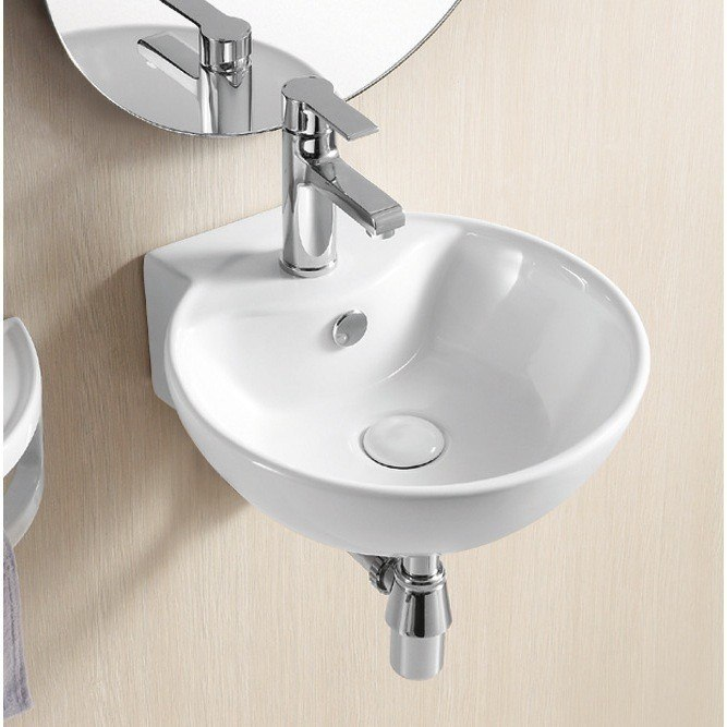 Caracalla CA4033-One Hole Ceramica Ii 16 Inch Round White Ceramic Wall Mounted Bathroom Sink