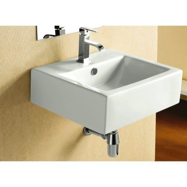 CARACALLA CA4034-ONE HOLE CERAMICA 20 INCH SQUARE WHITE CERAMIC WALL MOUNTED OR VESSEL BATHROOM SINK