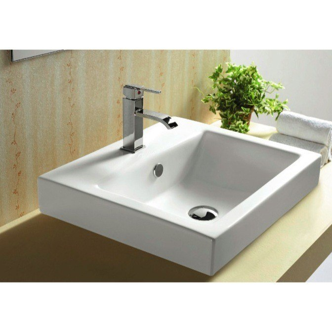 CARACALLA CA4034A-ONE HOLE CERAMICA 20 INCH WHITE CERAMIC SELF RIMMING OR WALL MOUNTED BATHROOM SINK
