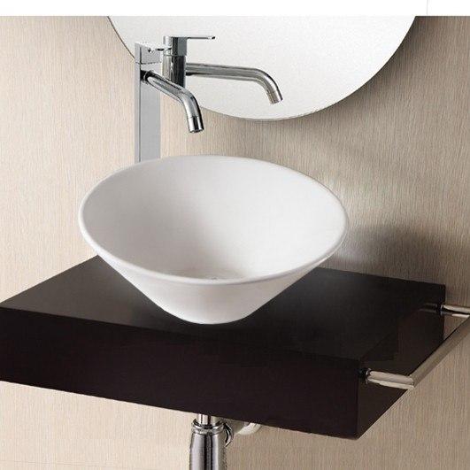 Caracalla CA4037-No Hole Ceramica Ii 17 Inch Round White Ceramic Vessel Bathroom Sink