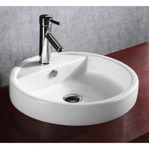 Caracalla CA4039A-One Hole Ceramica 19 Inch Circular White Ceramic Self Rimming Bathroom Sink