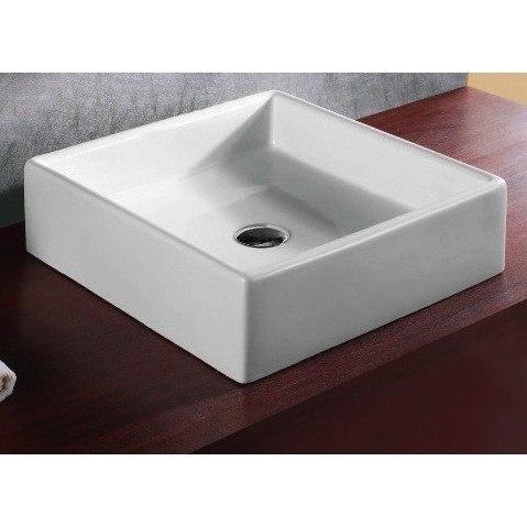 Caracalla CA4040-No Hole Ceramica 18 Inch Square White Ceramic Vessel Bathroom Sink