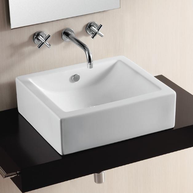 Caracalla CA4042-No Hole Ceramica Ii 20 Inch Rectangular White Ceramic Vessel Bathroom Sink