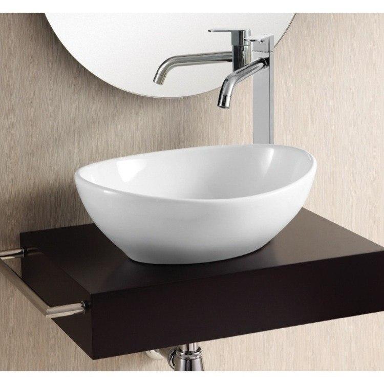 Caracalla Ca4047 No Hole Ceramica Ii 15 Inch Oval White Ceramic Vessel Bathroom Sink