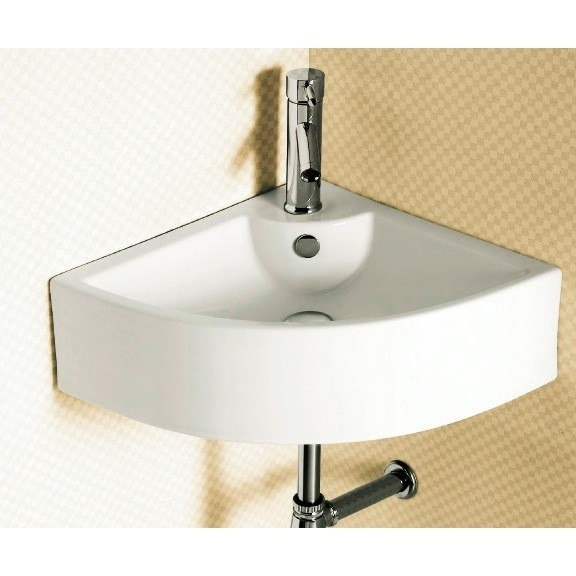Caracalla CA4053-One Hole Ceramica 26 Inch Corner White Ceramic Wall Mounted or Vessel Bathroom Sink