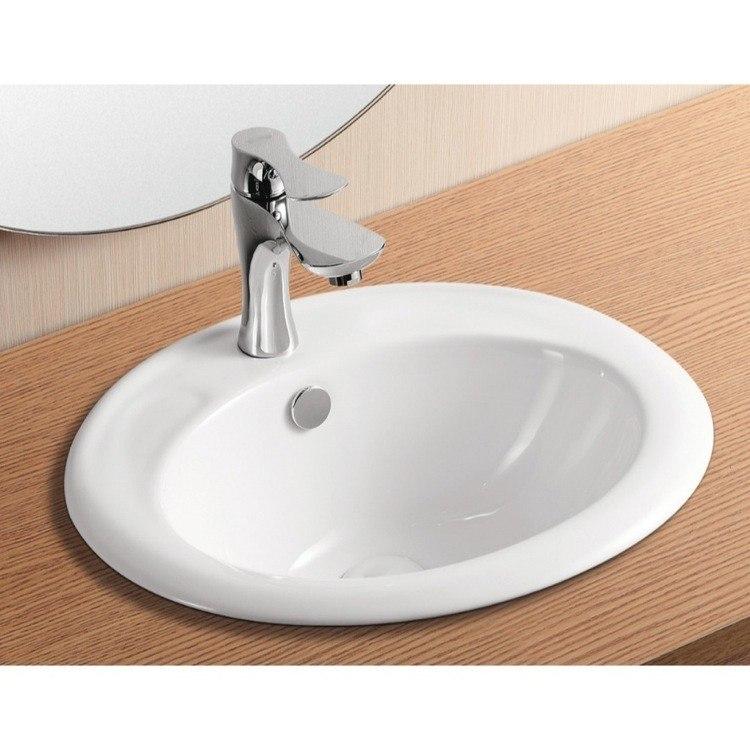 Caracalla CA4055-One Hole Ceramica Ii 19 Inch Oval White Ceramic Self Rimming Bathroom Sink