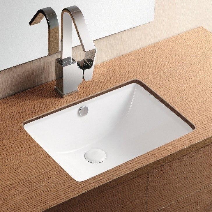 Caracalla CA4070-No Hole Ceramica Ii 18 Inch Rectangular White Ceramic Undermount Bathroom Sink