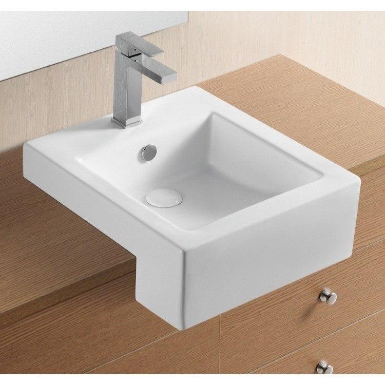 Caracalla CA4076C-One Hole Ceramica Ii 18 Inch Square White Ceramic Semi-Recessed Bathroom Sink