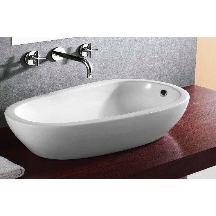 Caracalla CA4082-No Hole Ceramica 28 Inch Round White Ceramic Vessel Bathroom Sink