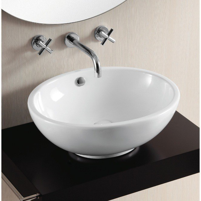 Caracalla CA4094-No Hole Ceramica Ii 21 Inch Oval White Ceramic Vessel Bathroom Sink