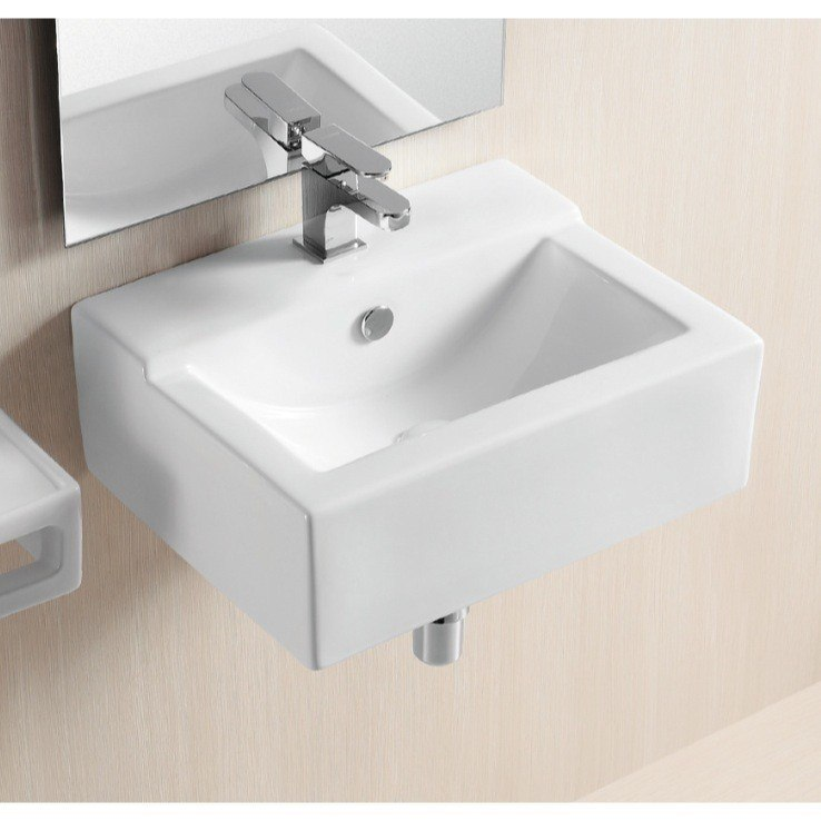 Caracalla CA4103C-One Hole Ceramica Ii 19 Inch Rectangular White Ceramic Wall Mounted or Vessel Bathroom Sink