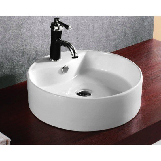 Caracalla CA4104-One Hole Ceramica 19 Inch Circular White Ceramic Vessel Bathroom Sink