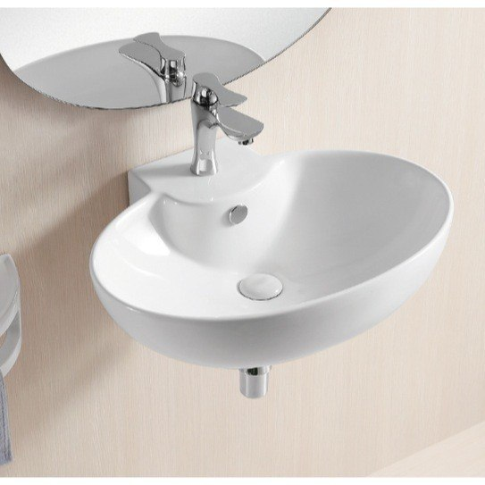 Caracalla CA4105-One Hole Ceramica Ii 24 Inch Oval White Ceramic Wall Mounted Bathroom Sink