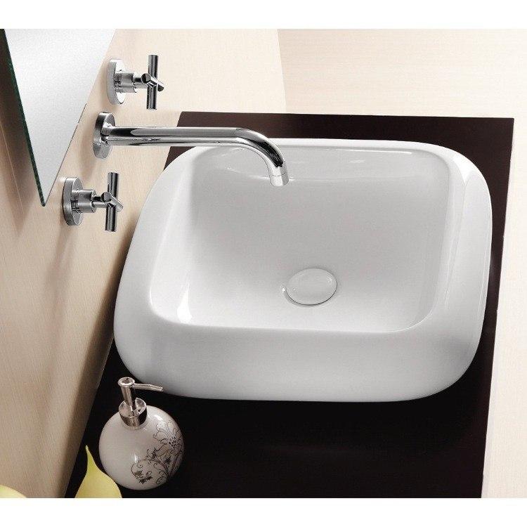 Caracalla CA412-No Hole Ceramica Ii 19 Inch Square White Ceramic Vessel Bathroom Sink