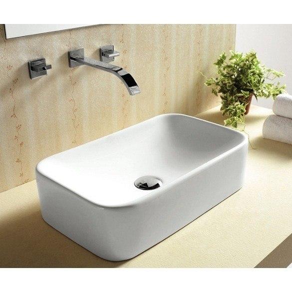 Caracalla CA4120-No Hole Ceramica 20 Inch Rectangular White Ceramic Vessel Bathroom Sink