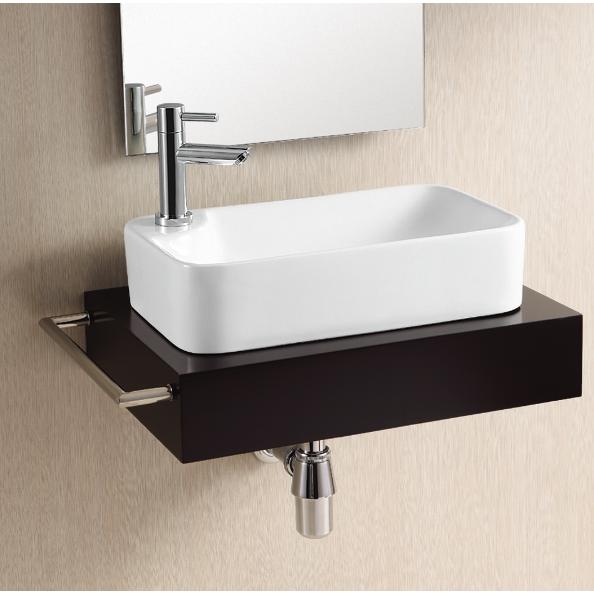 Caracalla CA4121-One Hole Ceramica 18 Inch Rectangular White Ceramic Vessel Bathroom Sink