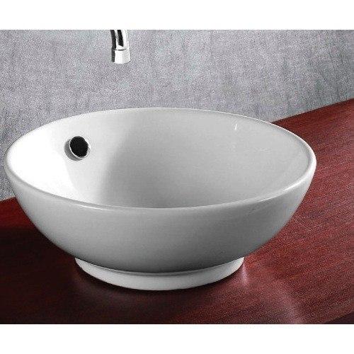 Caracalla CA4129-No Hole Ceramica 16 Inch Round White Ceramic Vessel Bathroom Sink