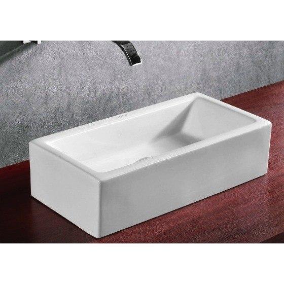 Caracalla CA4130-No Hole Ceramica 20 Inch Rectangular White Ceramic Vessel Bathroom Sink