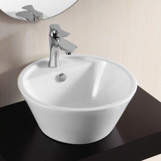 Caracalla CA4141-One Hole Ceramica Ii 17 Inch Round White Ceramic Vessel Bathroom Sink