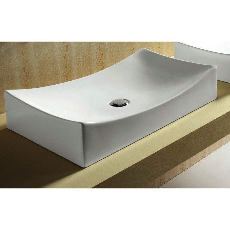 Caracalla CA4145-No Hole Ceramica 27 Inch Rectangular White Ceramic Vessel Bathroom Sink